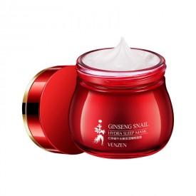 Ночная маска с муцином улитки, красным женьшенем и гиалуроновой кислотой Venzen Ginseng Snail Hydra Sleep Mask